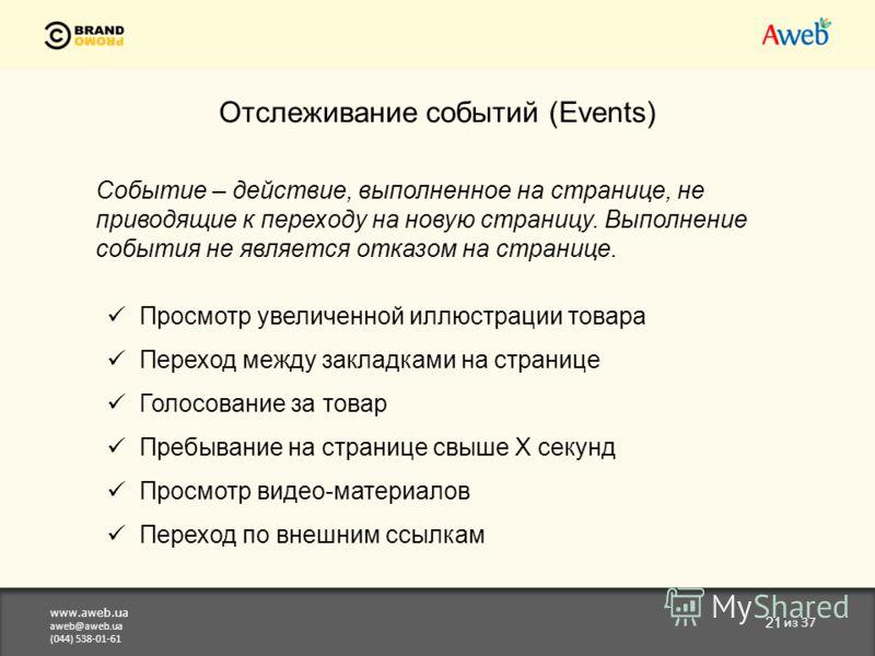 www.aweb.ua aweb@aweb.ua (044) 538-01-61 21 из 37 Отслеживание событий (Events) Событие – действие, выполненное на странице, не приводящие к переходу на новую страницу. Выполнение события не является отказом на странице. Просмотр увеличенной иллюстра