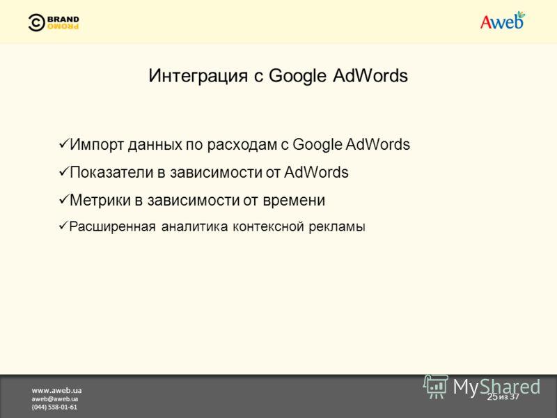 www.aweb.ua aweb@aweb.ua (044) 538-01-61 25 из 37 Интеграция с Google AdWords Импорт данных по расходам с Google AdWords Показатели в зависимости от AdWords Метрики в зависимости от времени Расширенная аналитика контексной рекламы