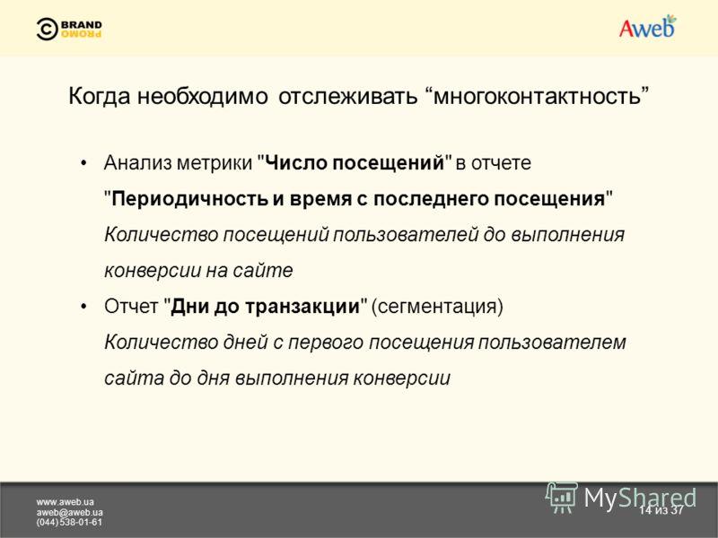 www.aweb.ua aweb@aweb.ua (044) 538-01-61 14 из 37 Когда необходимо отслеживать многоконтактность Анализ метрики