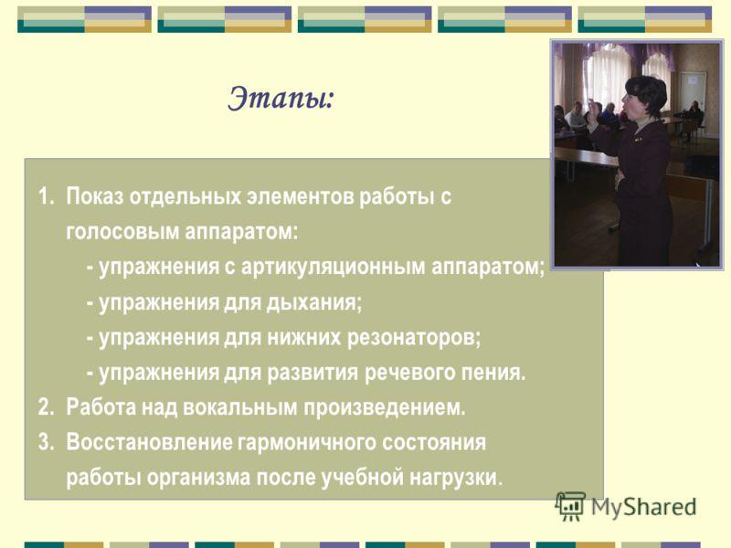 Этапы: 1. Показ отдельных элементов работы с голосовым аппаратом: - упражнения с артикуляционным аппаратом; - упражнения для дыхания; - упражнения для нижних резонаторов; - упражнения для развития речевого пения. 2. Работа над вокальным произведением