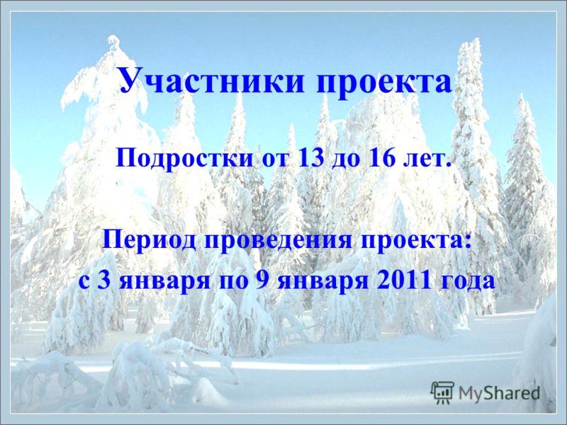 Участники проекта Подростки от 13 до 16 лет. Период проведения проекта: с 3 января по 9 января 2011 года