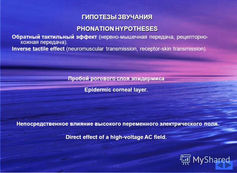 ГИПОТЕЗЫ ЗВУЧАНИЯ ГИПОТЕЗЫ ЗВУЧАНИЯ PHONATION HYPOTHESES PHONATION HYPOTHESES Обратный тактильный эффект (нервно-мышечная передача, рецепторно- кожная передача). Inverse tactile effect (neuromuscular transmission, receptor-skin transmission). Пробой