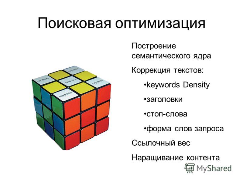 Поисковая оптимизация Построение семантического ядра Коррекция текстов: keywords Density заголовки стоп-слова форма слов запроса Ссылочный вес Наращивание контента