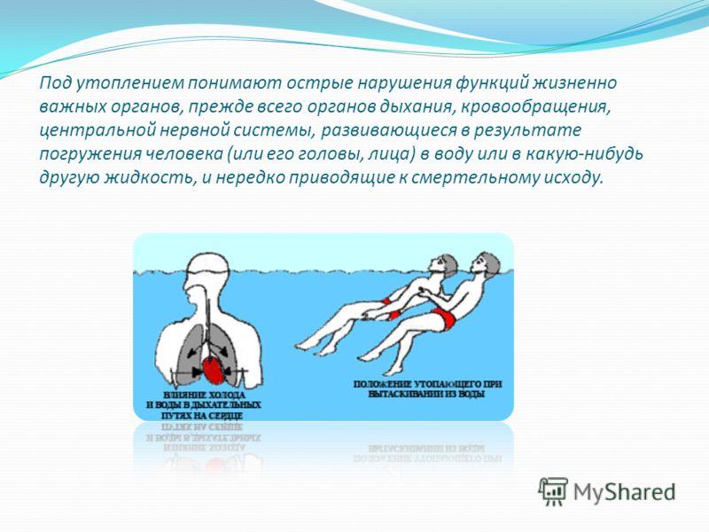 Под утоплением понимают острые нарушения функций жизненно важных органов, прежде всего органов дыхания, кровообращения, центральной нервной системы, развивающиеся в результате погружения человека (или его головы, лица) в воду или в какую-нибудь другу