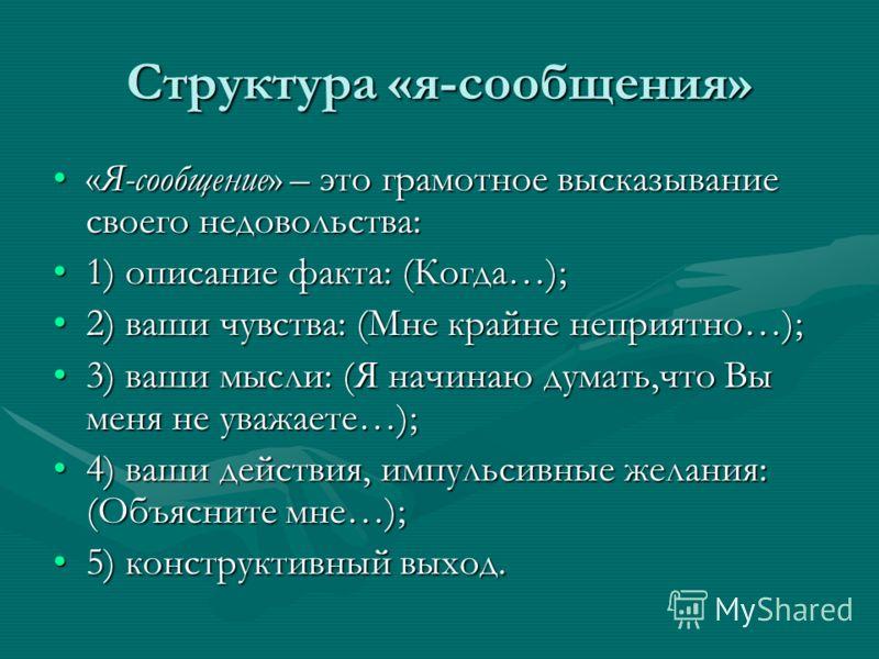 Структура «я-сообщения» «Я-сообщение» – это грамотное высказывание своего недовольства:«Я-сообщение» – это грамотное высказывание своего недовольства: 1) описание факта: (Когда…);1) описание факта: (Когда…); 2) ваши чувства: (Мне крайне неприятно…);2