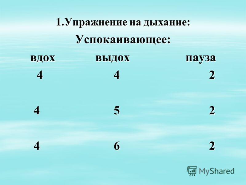 1.Упражнение на дыхание: Успокаивающее: вдох выдох пауза 4 4 2 4 4 2 4 5 2 4 5 2 4 6 2 4 6 2