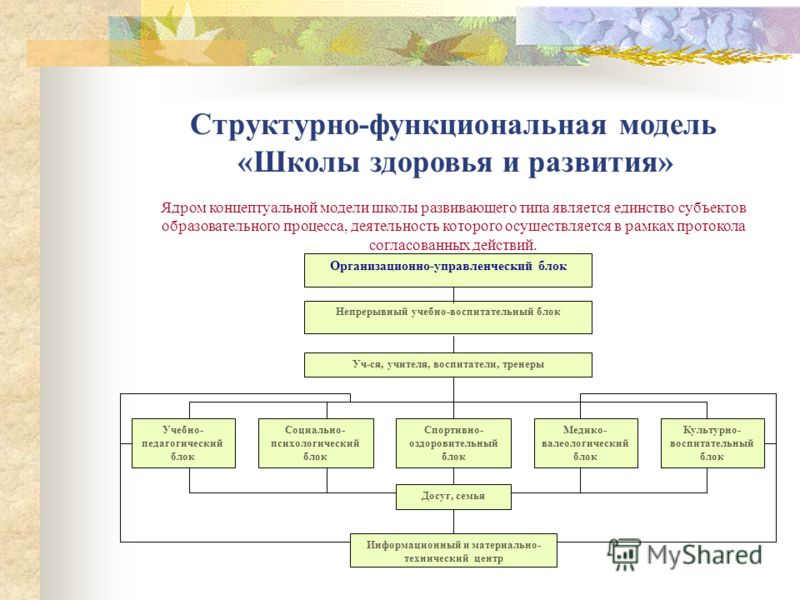 Построение учебно- воспитательного процесса в «Школе здоровья и развития».