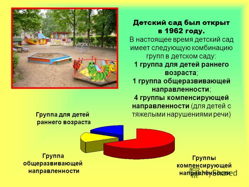 Детский сад был открыт в 1962 году. В настоящее время детский сад имеет следующую комбинацию групп в детском саду: 1 группа для детей раннего возраста; 1 группа общеразвивающей направленности; 4 группы компенсирующей направленности (для детей с тяжел