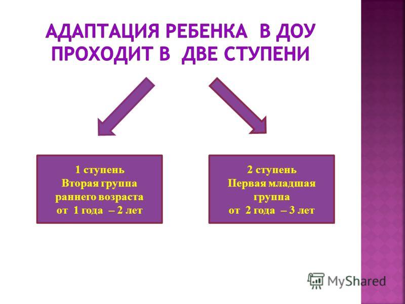 1 ступень Вторая группа раннего возраста от 1 года – 2 лет 2 ступень Первая младшая группа от 2 года – 3 лет