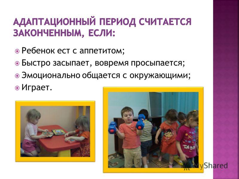 Ребенок ест с аппетитом; Быстро засыпает, вовремя просыпается; Эмоционально общается с окружающими; Играет.