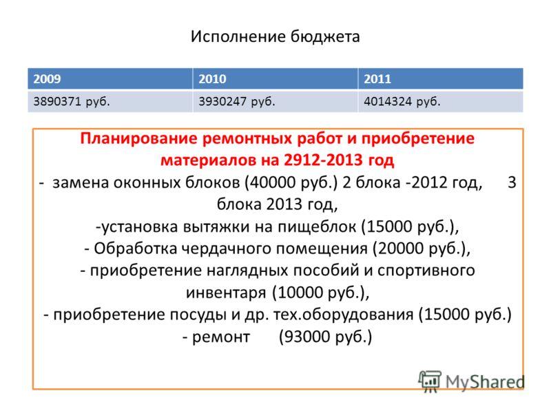Исполнение бюджета 200920102011 3890371 руб.3930247 руб.4014324 руб. Планирование ремонтных работ и приобретение материалов на 2912-2013 год - замена оконных блоков (40000 руб.) 2 блока -2012 год, 3 блока 2013 год, -установка вытяжки на пищеблок (150