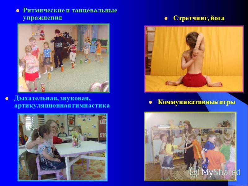 Ритмические и танцевальные упражнения Дыхательная, звуковая, артикуляционная гимнастика Стретчинг, йога Коммуникативные игры
