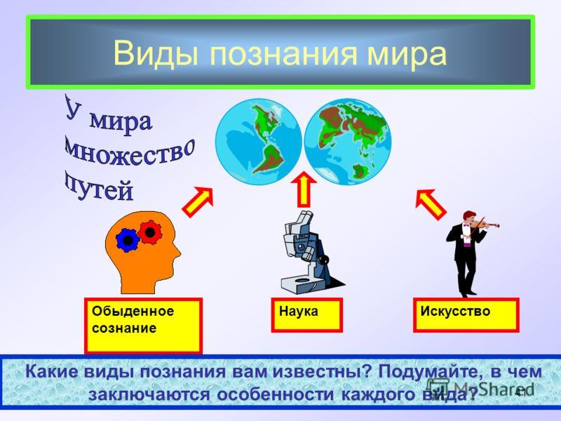 Виды познания мира Обыденное сознание Наука Искусство Какие виды познания вам известны? Подумайте, в чем заключаются особенности каждого вида? 41