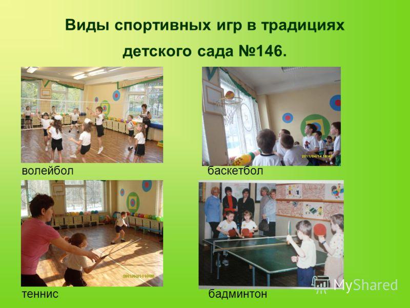 Виды спортивных игр в традициях детского сада 146. волейбол баскетбол теннис бадминтон