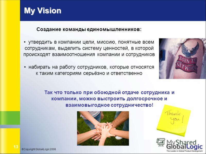 ©Copyright GlobalLogic 2006 13 My Vision Создание команды единомышленников: утвердить в компании цели, миссию, понятные всем сотрудникам, выделить систему ценностей, в которой происходят взаимоотношения компании и сотрудников набирать на работу сотру