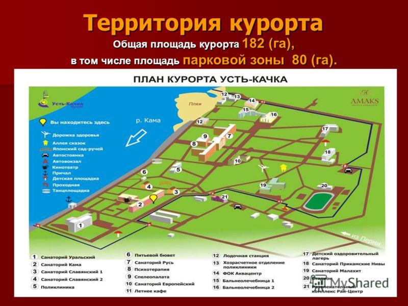 Территория курорта Общая площадь курорта 182 (га), в том числе площадь парковой зоны 80 (га).