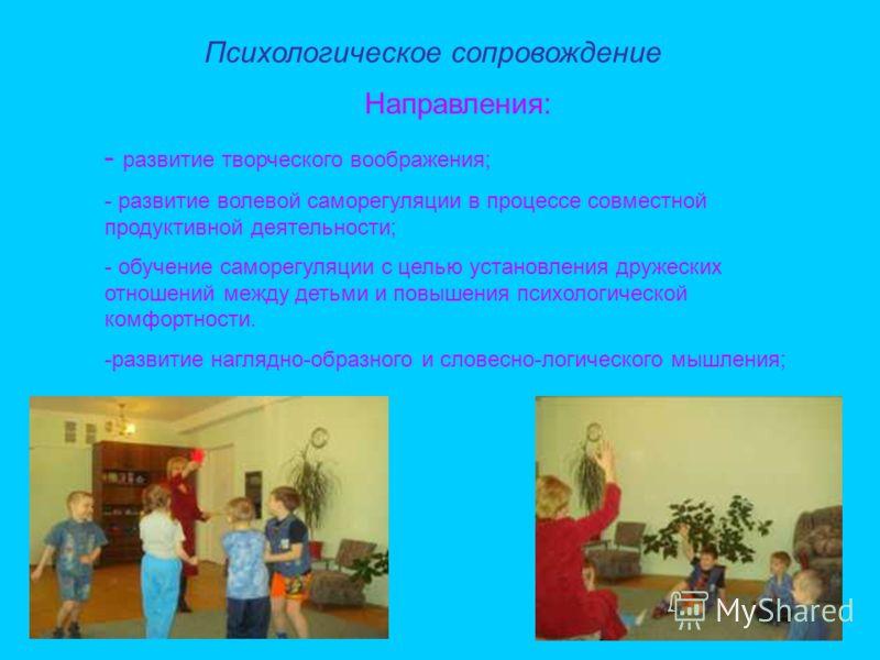 Психологическое сопровождение Направления: - развитие творческого воображения; - развитие волевой саморегуляции в процессе совместной продуктивной деятельности; - обучение саморегуляции с целью установления дружеских отношений между детьми и повышени