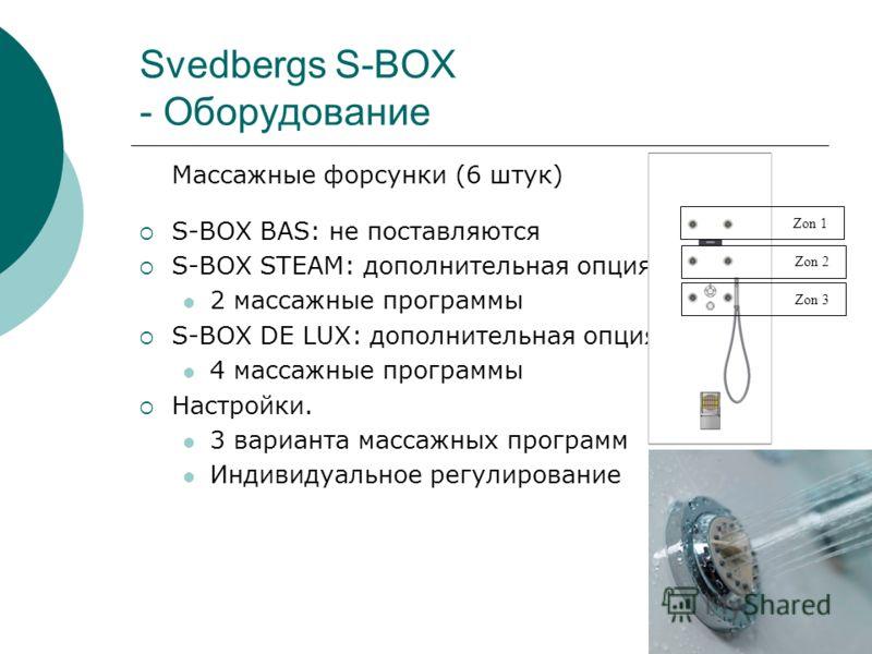 Svedbergs S-BOX - Оборудование Массажные форсунки (6 штук) S-BOX BAS: не поставляются S-BOX STEAM: дополнительная опция 2 массажные программы S-BOX DE LUX: дополнительная опция 4 массажные программы Настройки. 3 варианта массажных программ Индивидуал