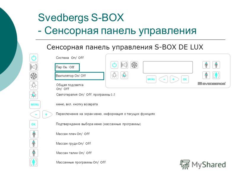 Svedbergs S-BOX - Сенсорная панель управления Сенсорная панель управления S-BOX DE LUX Система On/ Off Массаж груди On/ Off Массаж талии On/ Off Пар On / Off Вентилятор On/ Off Общая подсветка On/ Off Светотерапия On/ Off, программы 1-5 Массаж плеч O
