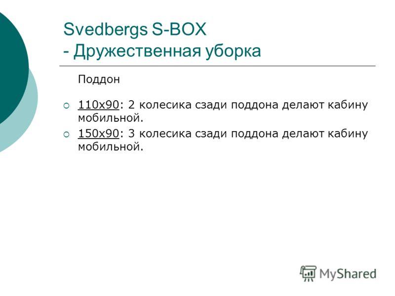 Svedbergs S-BOX - Дружественная уборка Поддон 110x90: 2 колесика сзади поддона делают кабину мобильной. 150x90: 3 колесика сзади поддона делают кабину мобильной.