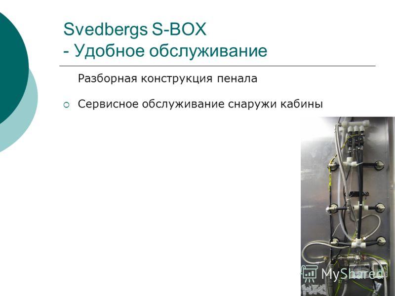 Svedbergs S-BOX - Удобное обслуживание Разборная конструкция пенала Сервисное обслуживание снаружи кабины
