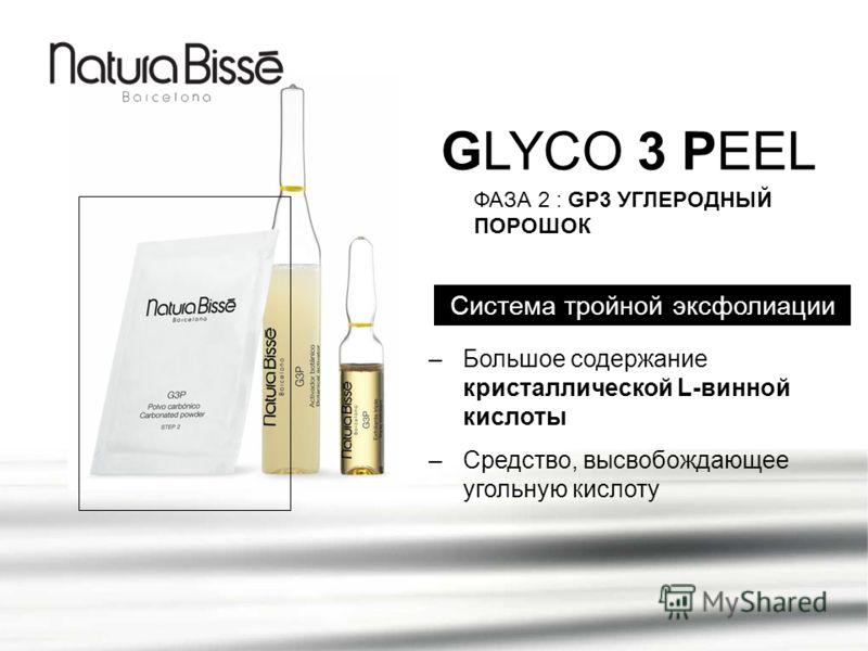 GLYCO 3 PEEL Система тройной эксфолиации ФАЗА 2 : GP3 УГЛЕРОДНЫЙ ПОРОШОК –Большое содержание кристаллической L-винной кислоты –Средство, высвобождающее угольную кислоту