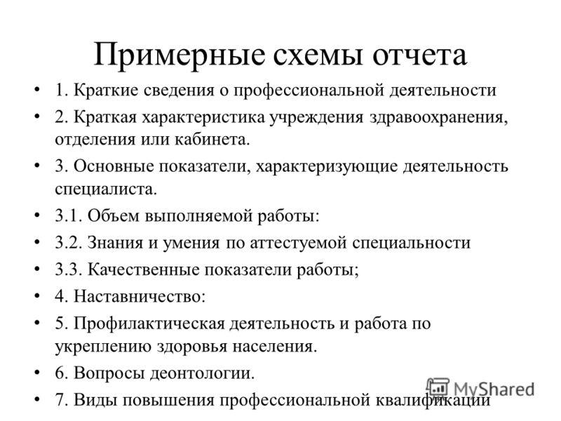 Примерные схемы отчета 1.