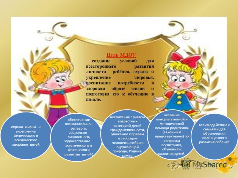 Цель МДОУ создание условий для всестороннего развития личности ребёнка, охрана и укрепление здоровья, воспитание потребности в здоровом образе жизни и подготовка его к обучению в школе. охрана жизни и укрепление физического и психического здоровья де