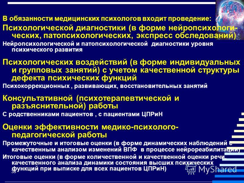 33 В обязанности медицинских психологов входит проведение: Психологической диагностики (в форме нейропсихологи- ческих, патопсихологических, экспресс обследований) Нейропсихологической и патопсихологической диагностики уровня психического развития Пс