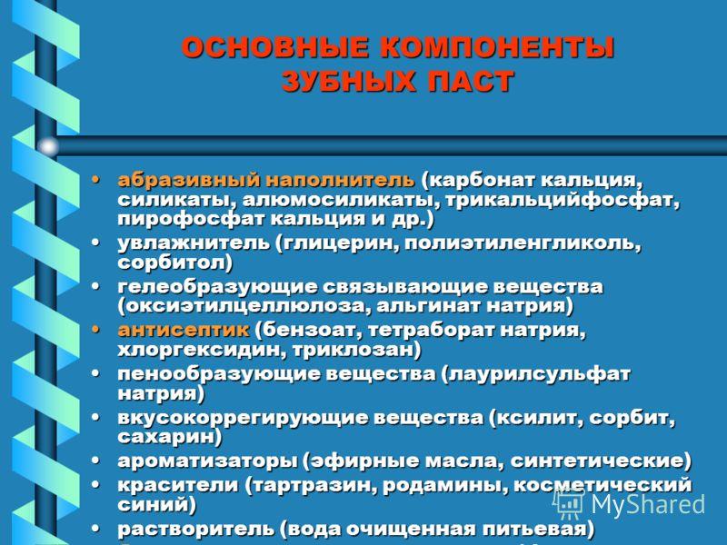 ОСНОВНЫЕ КОМПОНЕНТЫ ЗУБНЫХ ПАСТ абразивный наполнитель (карбонат кальция, силикаты, алюмосиликаты, трикальцийфосфат, пирофосфат кальция и др.)абразивный наполнитель (карбонат кальция, силикаты, алюмосиликаты, трикальцийфосфат, пирофосфат кальция и др