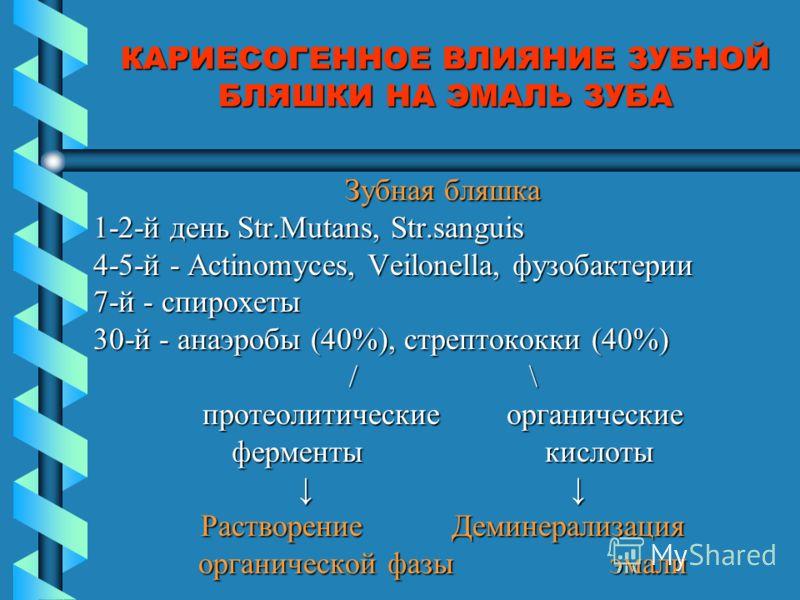 КАРИЕСОГЕННОЕ ВЛИЯНИЕ ЗУБНОЙ БЛЯШКИ НА ЭМАЛЬ ЗУБА Зубная бляшка 1-2-й день Str.Mutans, Str.sanguis 4-5-й - Actinomyces, Veilonella, фузобактерии 7-й - спирохеты 30-й - анаэробы (40%), стрептококки (40%) / \ протеолитические органические ферменты кисл