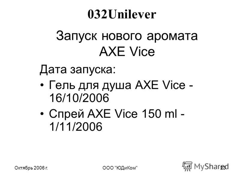 Октябрь 2006 г.ООО ЮДиКом23 Запуск нового аромата АХЕ Vice Дата запуска: Гель для душа AXE Vice - 16/10/2006 Спрей AXE Vice 150 ml - 1/11/2006 032Unilever