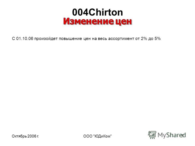 Октябрь 2006 г.ООО ЮДиКом7 004Chirton C 01.10.06 произойдет повышение цен на весь ассортимент от 2% до 5%