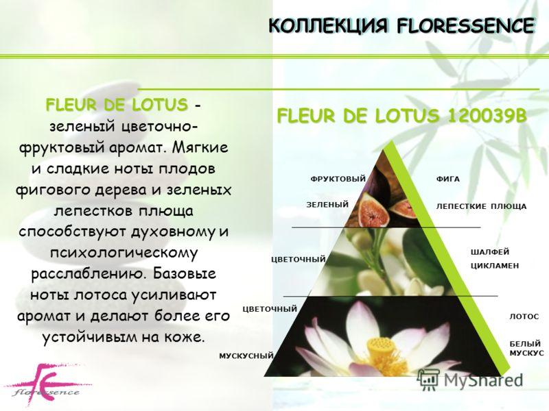 FLEUR DE LOTUS FLEUR DE LOTUS - зеленый цветочно- фруктовый аромат. Мягкие и сладкие ноты плодов фигового дерева и зеленых лепестков плюща способствуют духовному и психологическому расслаблению. Базовые ноты лотоса усиливают аромат и делают более его