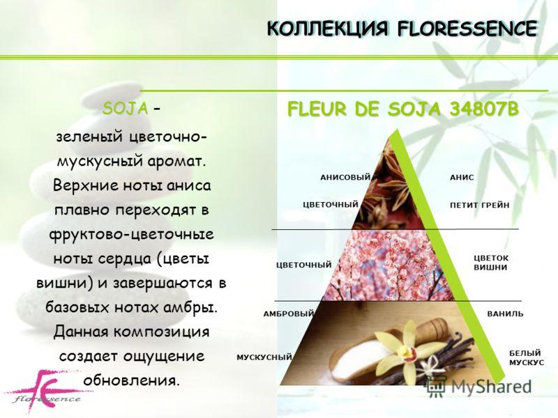 SOJA SOJA – зеленый цветочно- мускусный аромат. Верхние ноты аниса плавно переходят в фруктово-цветочные ноты сердца (цветы вишни) и завершаются в базовых нотах амбры. Данная композиция создает ощущение обновления. КОЛЛЕКЦИЯ FLORESSENCE ЦВЕТОЧНЫЙ АМБ