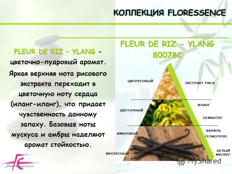 FLEUR DE RIZ – YLANG FLEUR DE RIZ – YLANG - цветочно-пудровый аромат. Яркая верхняя нота рисового экстракта переходит в цветочную ноту сердца (иланг-иланг), что придает чувственность данному запаху. Базовые ноты мускуса и амбры наделяют аромат стойко