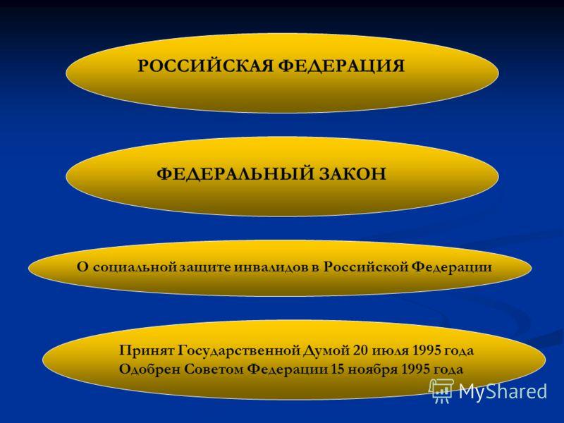 РОССИЙСКАЯ ФЕДЕРАЦИЯ Принят Государственной Думой 20 июля 1995 года Одобрен Советом Федерации 15 ноября 1995 года О социальной защите инвалидов в Российской Федерации ФЕДЕРАЛЬНЫЙ ЗАКОН