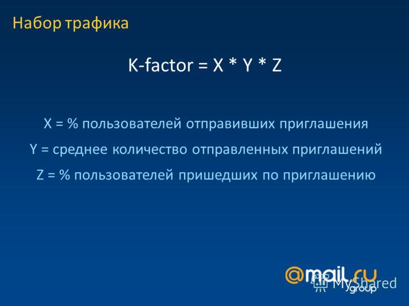 Набор трафика K-factor = X * Y * Z X = % пользователей отправивших приглашения Y = среднее количество отправленных приглашений Z = % пользователей пришедших по приглашению