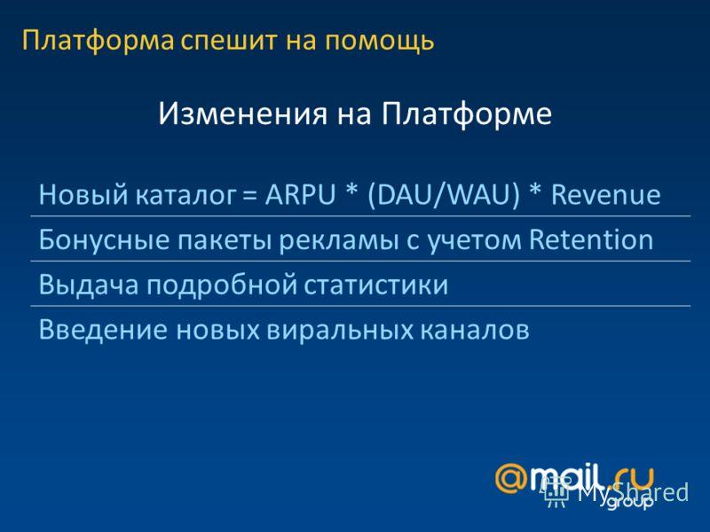 Платформа спешит на помощь Изменения на Платформе Новый каталог = ARPU * (DAU/WAU) * Revenue Бонусные пакеты рекламы с учетом Retention Выдача подробной статистики Введение новых виральных каналов