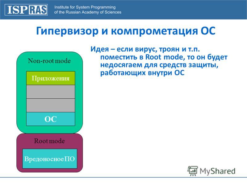 Гипервизор и компрометация ОС Non-root mode Root mode Приложения ОС Вредоносное ПО Идея – если вирус, троян и т.п. поместить в Root mode, то он будет недосягаем для средств защиты, работающих внутри ОС