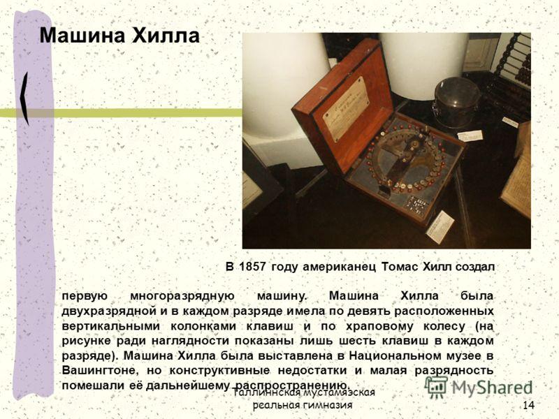 Таллиннская мустамяэская реальная гимназия14 Машина Хилла В 1857 году американец Томас Хилл создал первую многоразрядную машину. Машина Хилла была двухразрядной и в каждом разряде имела по девять расположенных вертикальными колонками клавиш и по храп
