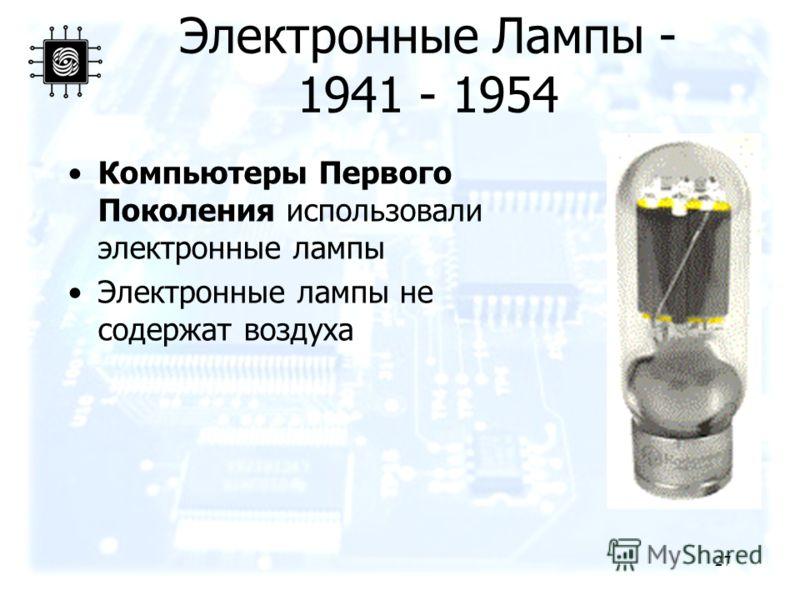 27 Электронные Лампы - 1941 - 1954 Компьютеры Первого Поколения использовали электронные лампы Электронные лампы не содержат воздуха