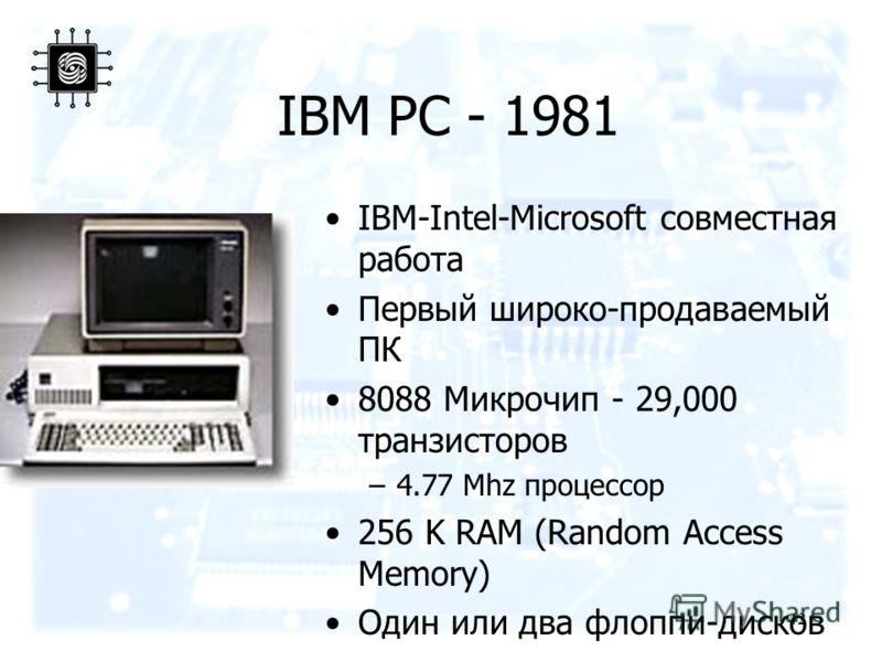 42 IBM PC - 1981 IBM-Intel-Microsoft совместная работа Первый широко-продаваемый ПК 8088 Микрочип - 29,000 транзисторов –4.77 Mhz процессор 256 K RAM (Random Access Memory) Один или два флоппи-дисков