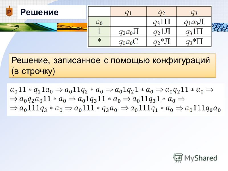 Решение Решение, записанное с помощью конфигураций (в строчку)