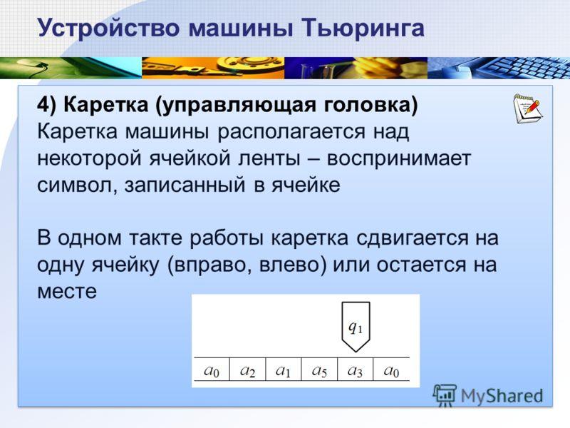 4) Каретка (управляющая головка) Каретка машины располагается над некоторой ячейкой ленты – воспринимает символ, записанный в ячейке В одном такте работы каретка сдвигается на одну ячейку (вправо, влево) или остается на месте Устройство машины Тьюрин