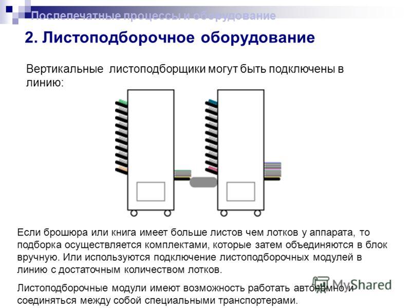 2. Листоподборочное оборудование Вертикальные листоподборщики могут быть подключены в линию: Послепечатные процессы и оборудование Если брошюра или книга имеет больше листов чем лотков у аппарата, то подборка осуществляется комплектами, которые затем