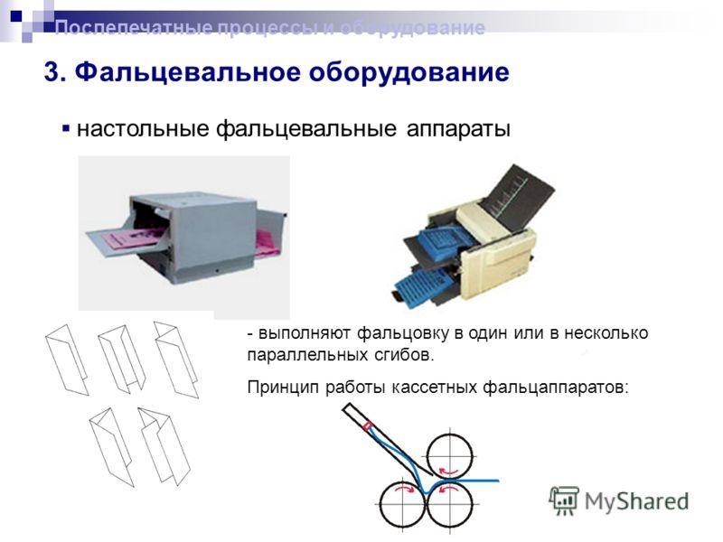 3. Фальцевальное оборудование Послепечатные процессы и оборудование настольные фальцевальные аппараты - выполняют фальцовку в один или в несколько параллельных сгибов. Принцип работы кассетных фальцаппаратов: