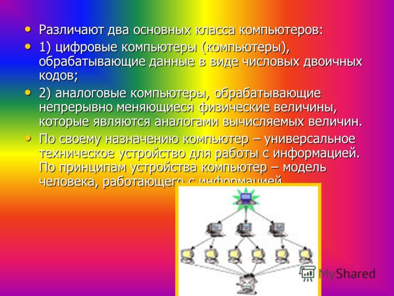 Различают два основных класса компьютеров: Различают два основных класса компьютеров: 1) цифровые компьютеры (компьютеры), обрабатывающие данные в виде числовых двоичных кодов; 1) цифровые компьютеры (компьютеры), обрабатывающие данные в виде числовы