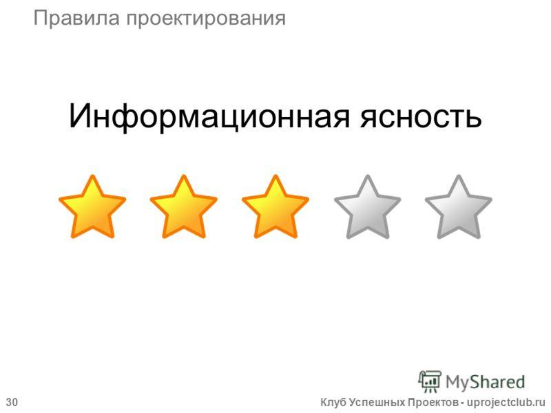 Клуб Успешных Проектов - uprojectclub.ru30 Информационная ясность Правила проектирования