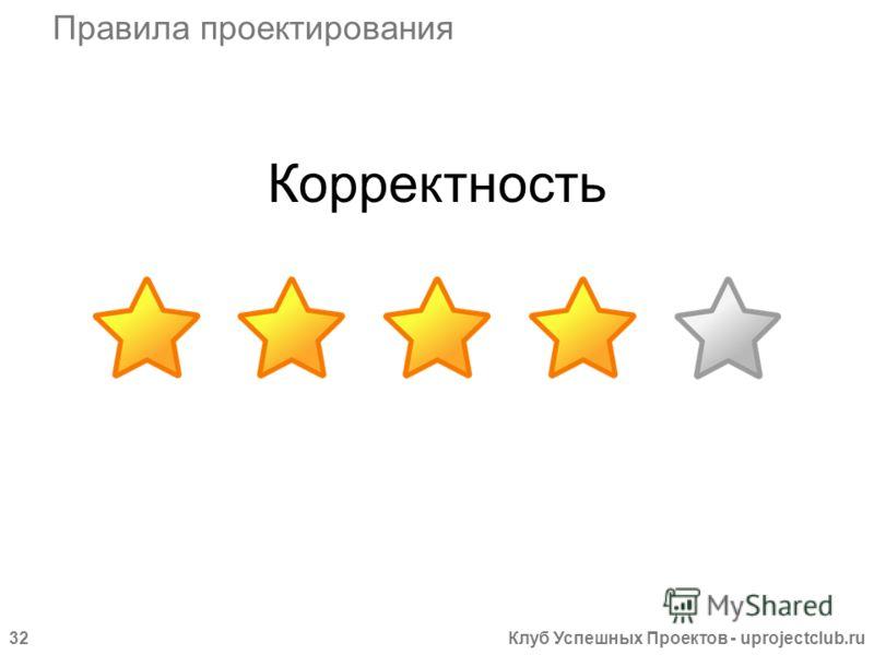 Клуб Успешных Проектов - uprojectclub.ru32 Корректность Правила проектирования